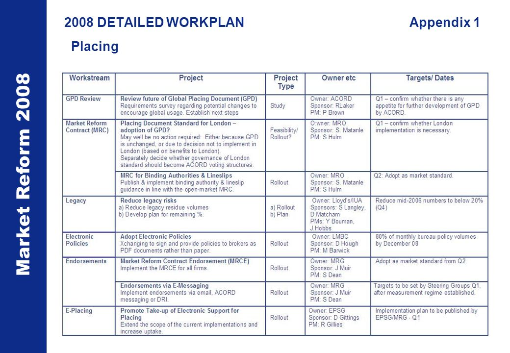 Market Reform DETAILED WORKPLANAppendix 1 Placing