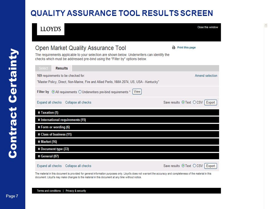 QUALITY ASSURANCE TOOL RESULTS SCREEN Contract Certainty Page 7