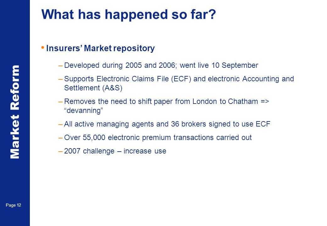 Market Reform Page 12 What has happened so far? Insurers Market repository –Developed during 2005 and 2006; went live 10 September –Supports Electroni