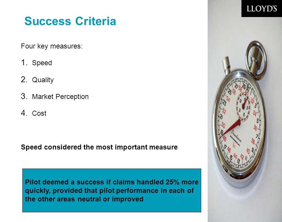 © Lloyds6 Success Criteria Four key measures: 1. Speed 2.