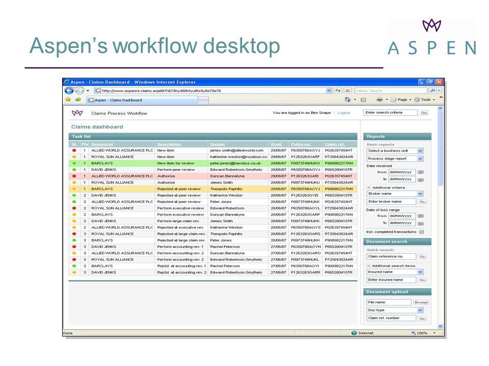 Underwriter Desktop – Detail Data from Subscribe (& other systems) Desktop varies according to user role Risk-related documents from DMS Workflow Information Workflow Actions