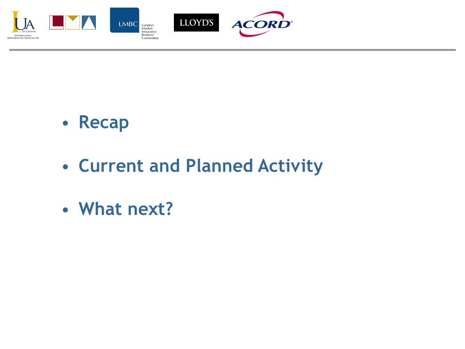 Recap Current and Planned Activity What next?