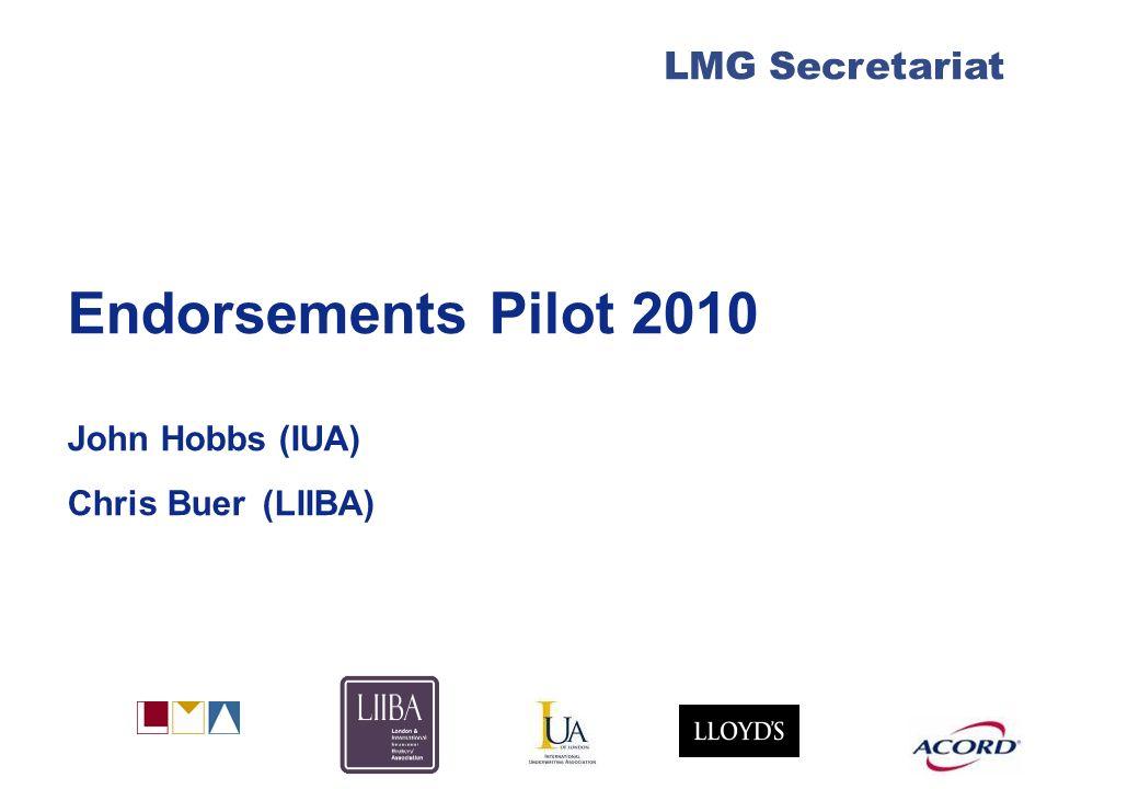 London Market Group 1 Agenda Pilot approach & timetable Market commitment Benefits Plan & next steps