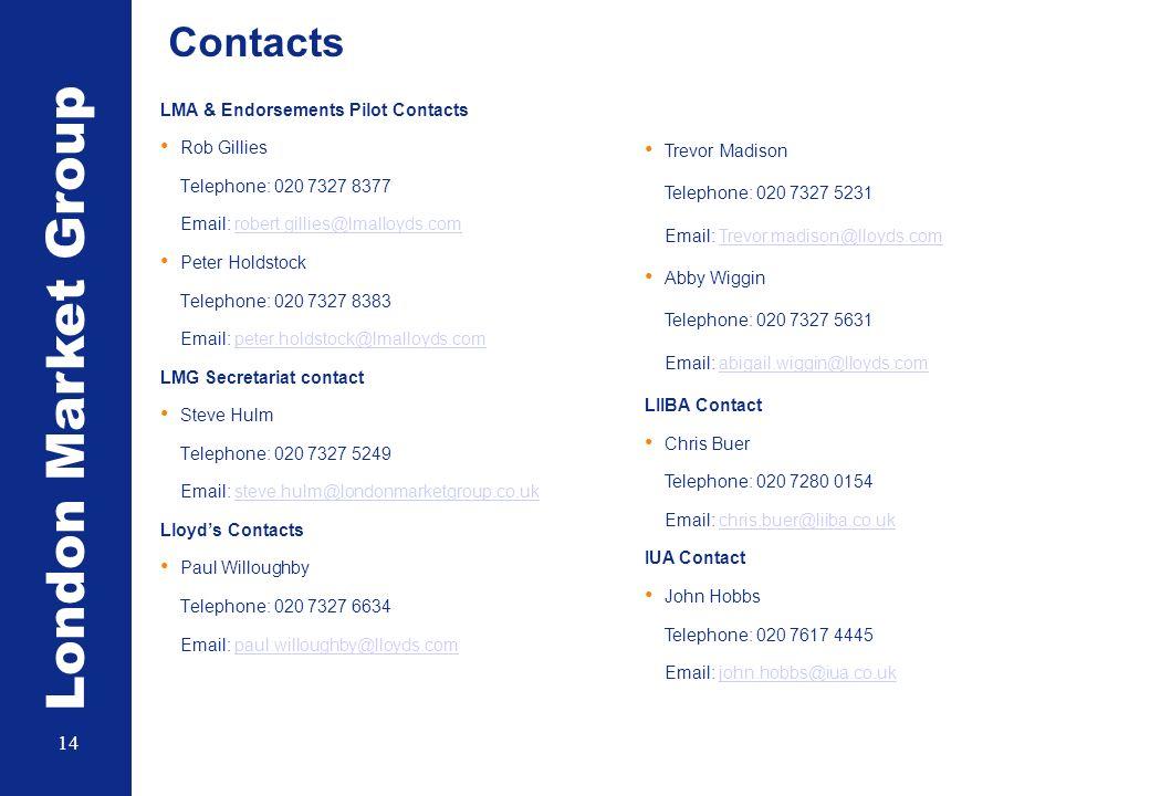 London Market Group 14 Contacts LMA & Endorsements Pilot Contacts Rob Gillies Telephone: 020 7327 8377 Email: robert.gillies@lmalloyds.comrobert.gillies@lmalloyds.com Peter Holdstock Telephone: 020 7327 8383 Email: peter.holdstock@lmalloyds.competer.holdstock@lmalloyds.com LMG Secretariat contact Steve Hulm Telephone: 020 7327 5249 Email: steve.hulm@londonmarketgroup.co.uksteve.hulm@londonmarketgroup.co.uk Lloyds Contacts Paul Willoughby Telephone: 020 7327 6634 Email: paul.willoughby@lloyds.compaul.willoughby@lloyds.com Trevor Madison Telephone: 020 7327 5231 Email: Trevor.madison@lloyds.comTrevor.madison@lloyds.com Abby Wiggin Telephone: 020 7327 5631 Email: abigail.wiggin@lloyds.comabigail.wiggin@lloyds.com LIIBA Contact Chris Buer Telephone: 020 7280 0154 Email: chris.buer@liiba.co.ukchris.buer@liiba.co.uk IUA Contact John Hobbs Telephone: 020 7617 4445 Email: john.hobbs@iua.co.ukjohn.hobbs@iua.co.uk