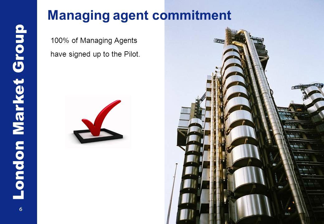 London Market Group 7 24 IUA members by 2011, 17 part of the endorsement pilot IUA Carrier commitment