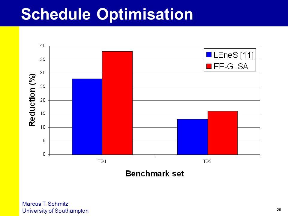 26 Marcus T. Schmitz University of Southampton Schedule Optimisation