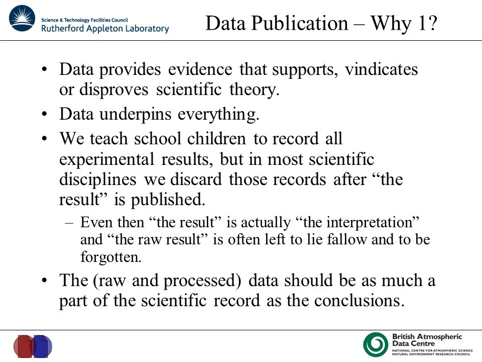 Data Publication – Why 1.