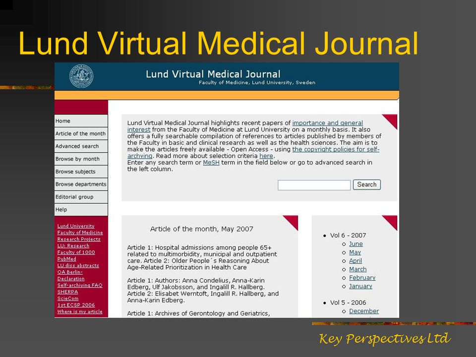 Lund Virtual Medical Journal Key Perspectives Ltd