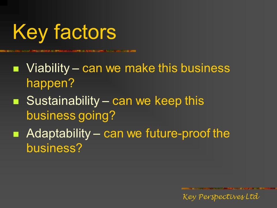 Key factors Viability – can we make this business happen? Sustainability – can we keep this business going? Adaptability – can we future-proof the bus
