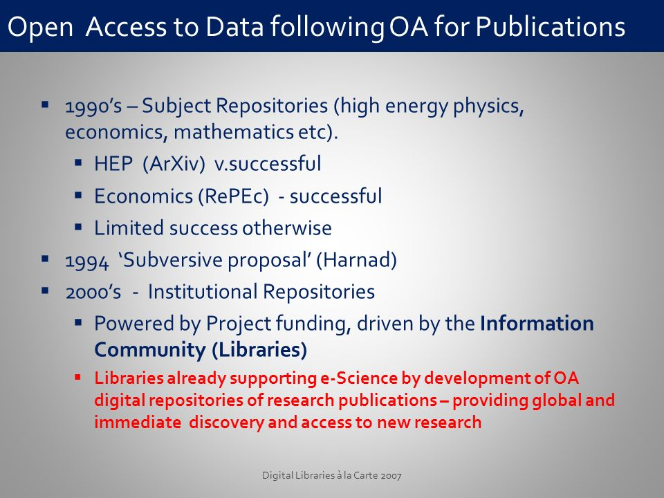 Open Access to Data following OA for Publications 1990s – Subject Repositories (high energy physics, economics, mathematics etc).