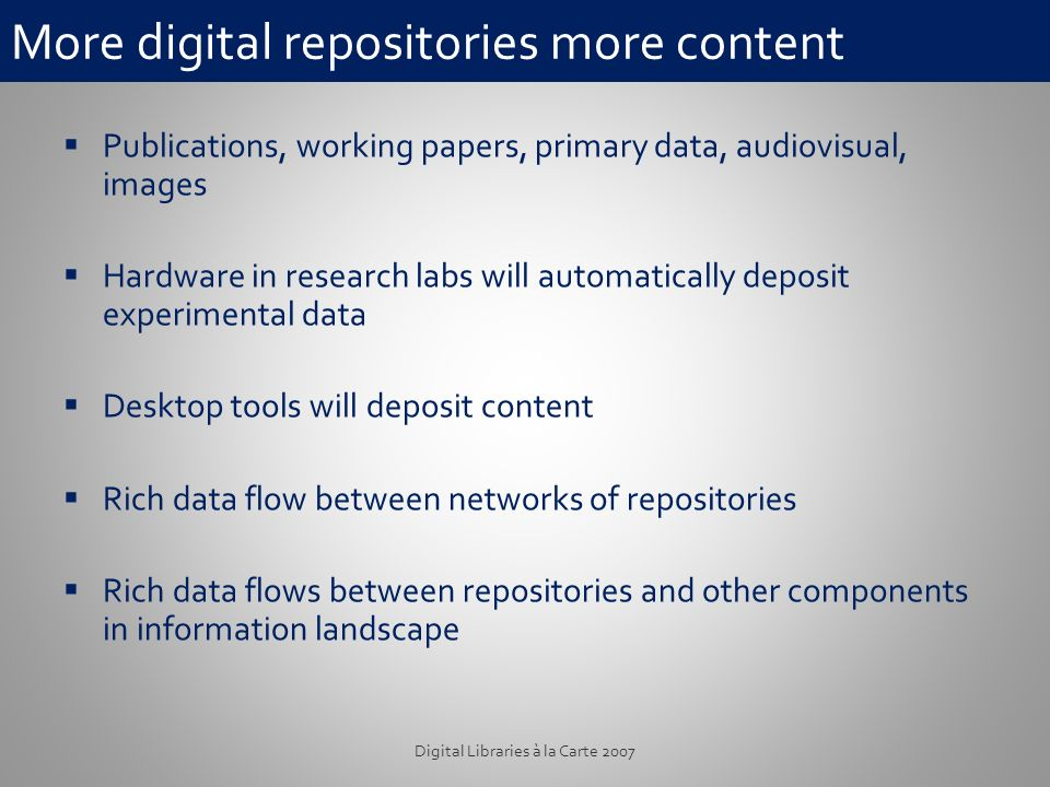 More digital repositories more content Publications, working papers, primary data, audiovisual, images Hardware in research labs will automatically deposit experimental data Desktop tools will deposit content Rich data flow between networks of repositories Rich data flows between repositories and other components in information landscape Digital Libraries à la Carte 2007