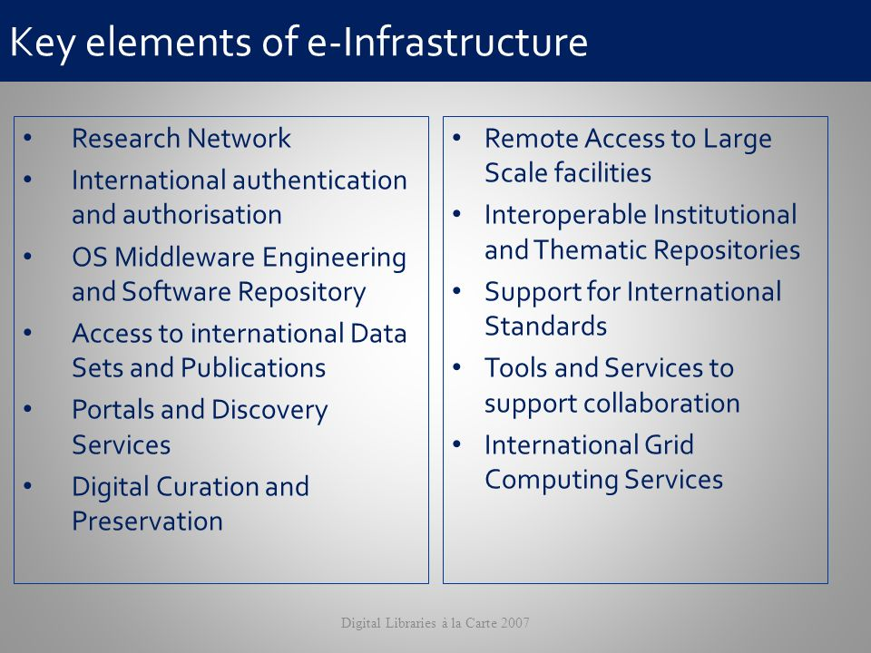 Key elements of e-Infrastructure Research Network International authentication and authorisation OS Middleware Engineering and Software Repository Access to international Data Sets and Publications Portals and Discovery Services Digital Curation and Preservation Remote Access to Large Scale facilities Interoperable Institutional and Thematic Repositories Support for International Standards Tools and Services to support collaboration International Grid Computing Services Digital Libraries à la Carte 2007
