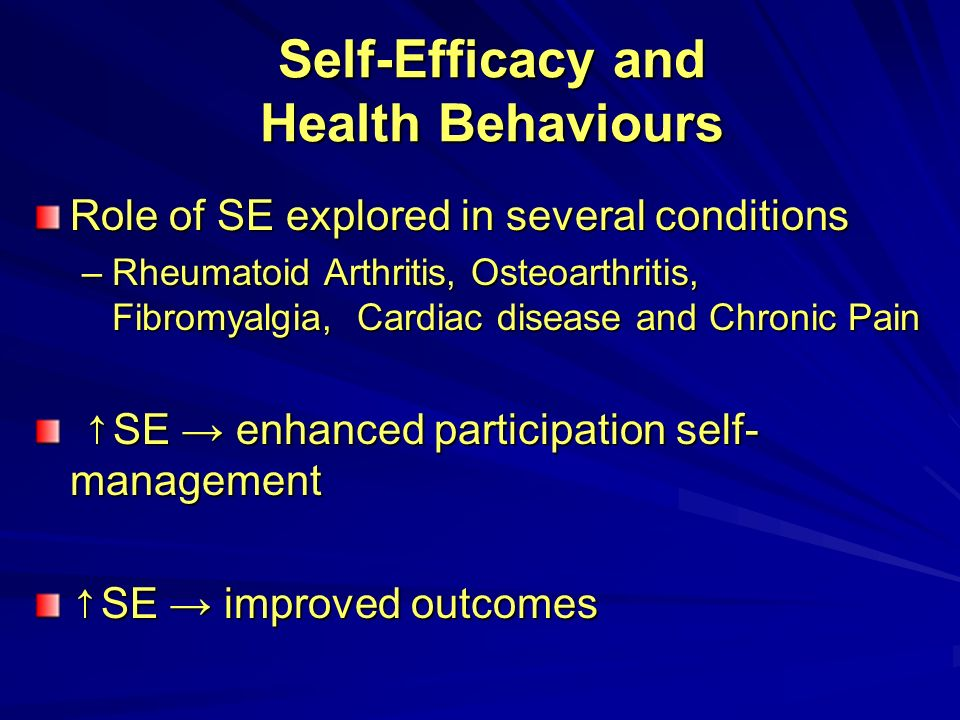 Self-Efficacy and Health Behaviours Role of SE explored in several conditions –Rheumatoid Arthritis, Osteoarthritis, Fibromyalgia, Cardiac disease and Chronic Pain SE enhanced participation self- management SE enhanced participation self- management SE improved outcomes SE improved outcomes