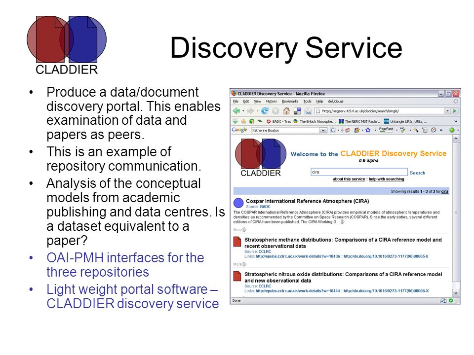 Discovery Service Produce a data/document discovery portal. This enables examination of data and papers as peers. This is an example of repository com