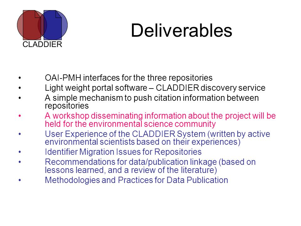 Deliverables OAI-PMH interfaces for the three repositories Light weight portal software – CLADDIER discovery service A simple mechanism to push citati