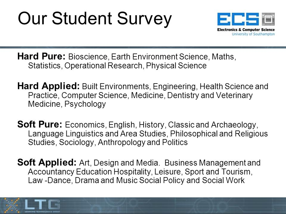 Our Student Survey Hard Pure: Bioscience, Earth Environment Science, Maths, Statistics, Operational Research, Physical Science Hard Applied: Built Environments, Engineering, Health Science and Practice, Computer Science, Medicine, Dentistry and Veterinary Medicine, Psychology Soft Pure: Economics, English, History, Classic and Archaeology, Language Linguistics and Area Studies, Philosophical and Religious Studies, Sociology, Anthropology and Politics Soft Applied: Art, Design and Media.