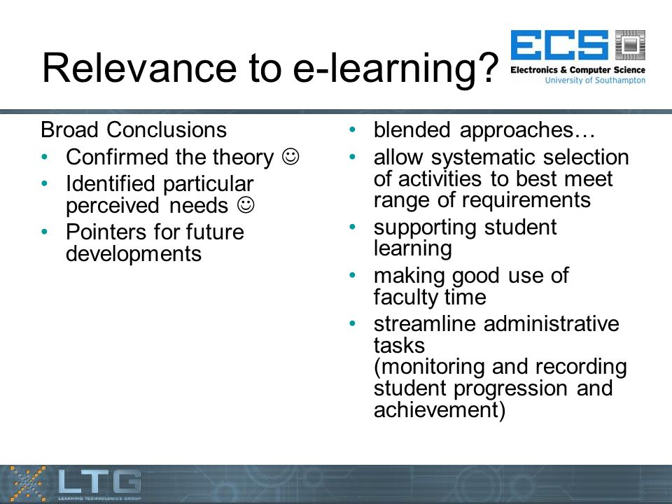 Relevance to e-learning.