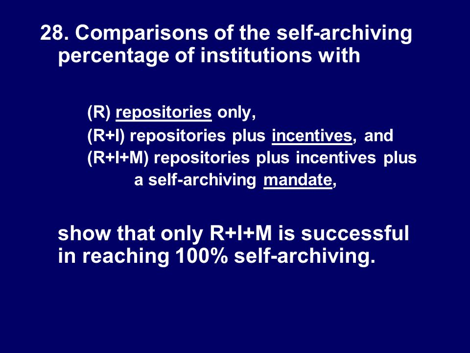 28. Comparisons of the self-archiving percentage of institutions with (R) repositories only, (R+I) repositories plus incentives, and (R+I+M) repositor