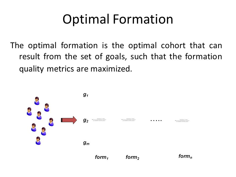 Optimal Formation The optimal formation is the optimal cohort that can result from the set of goals, such that the formation quality metrics are maxim