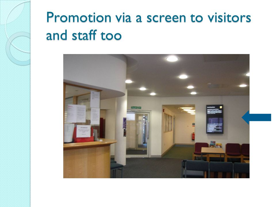Promotion via a screen to visitors and staff too