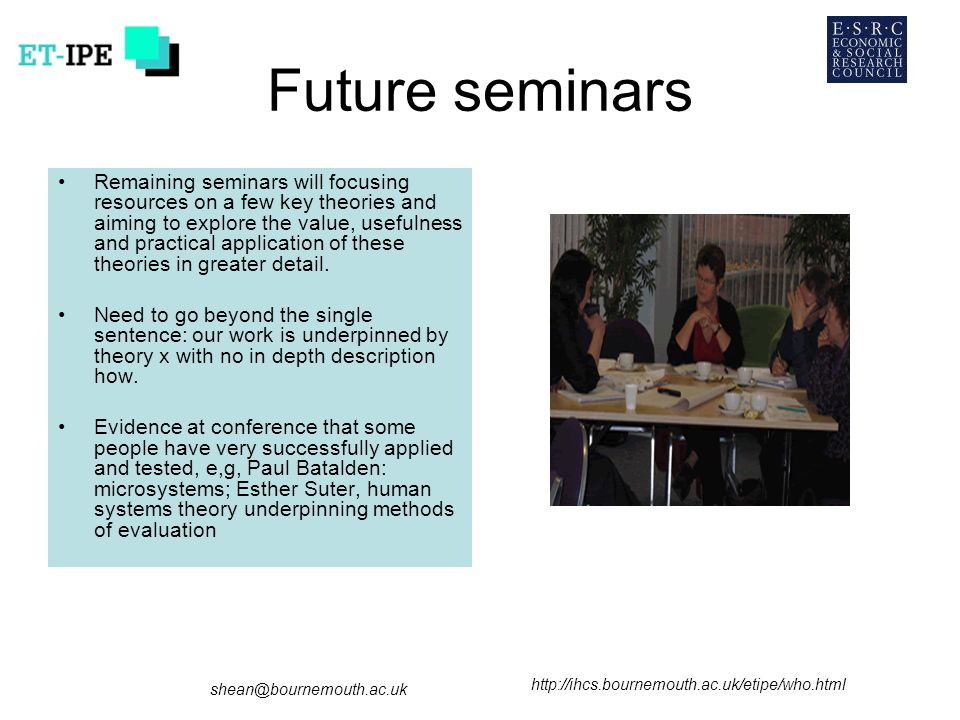 Future seminars Remaining seminars will focusing resources on a few key theories and aiming to explore the value, usefulness and practical application of these theories in greater detail.