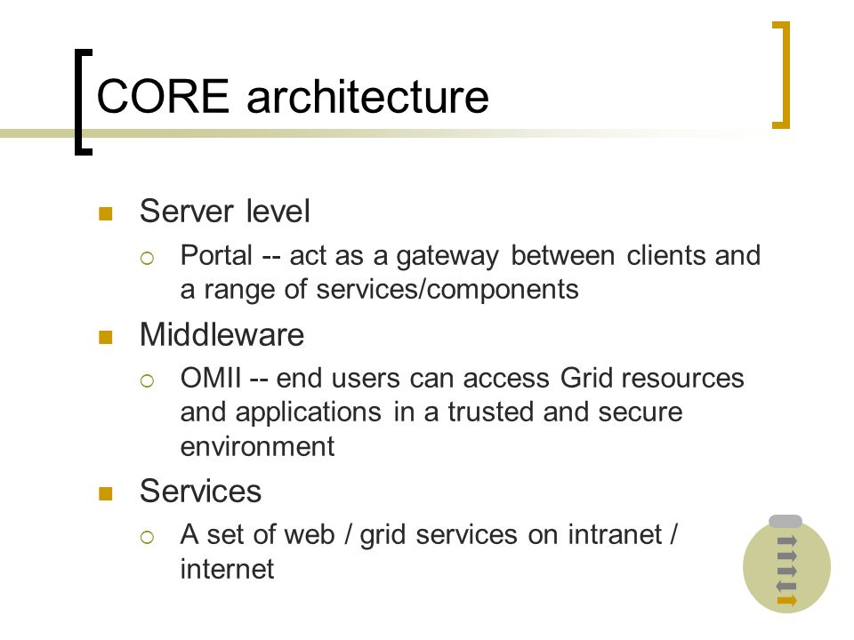 CORE architecture Server level Portal -- act as a gateway between clients and a range of services/components Middleware OMII -- end users can access Grid resources and applications in a trusted and secure environment Services A set of web / grid services on intranet / internet