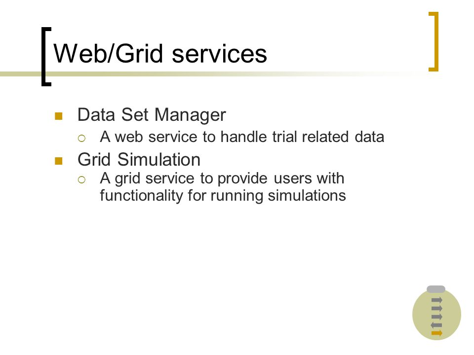 Web/Grid services Data Set Manager A web service to handle trial related data Grid Simulation A grid service to provide users with functionality for running simulations