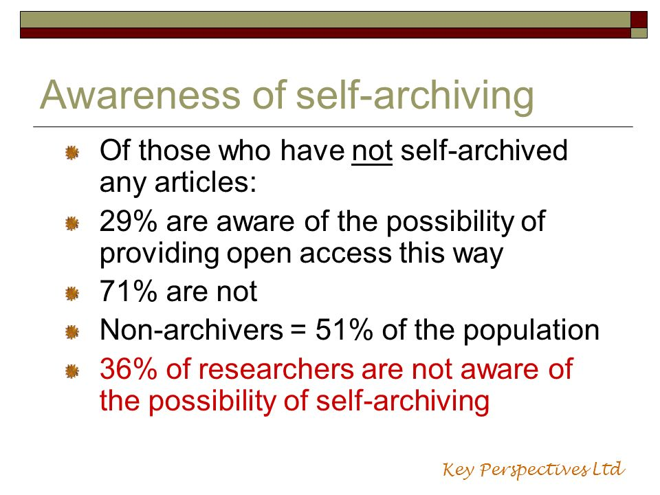 Awareness of self-archiving Of those who have not self-archived any articles: 29% are aware of the possibility of providing open access this way 71% a