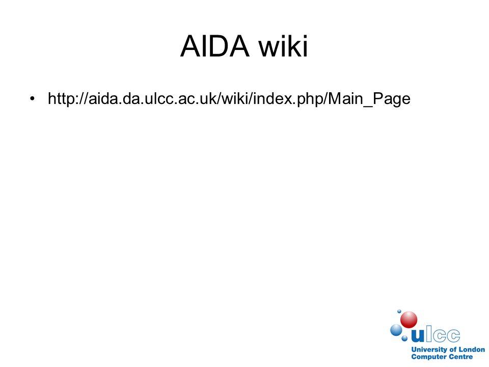 AIDA wiki http://aida.da.ulcc.ac.uk/wiki/index.php/Main_Page