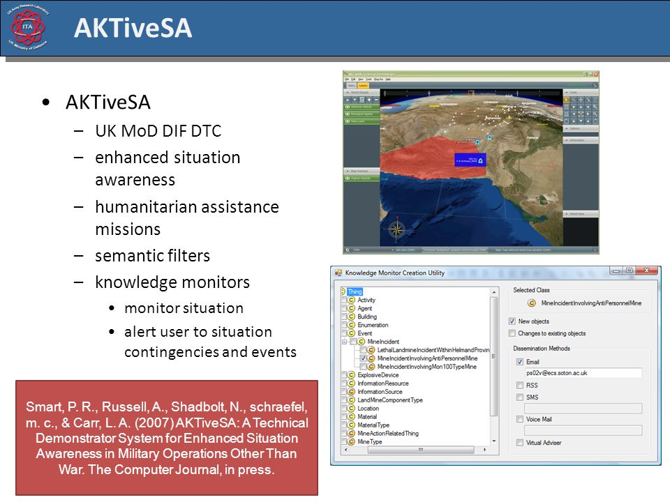 AKTiveSA –UK MoD DIF DTC –enhanced situation awareness –humanitarian assistance missions –semantic filters –knowledge monitors monitor situation alert user to situation contingencies and events Smart, P.