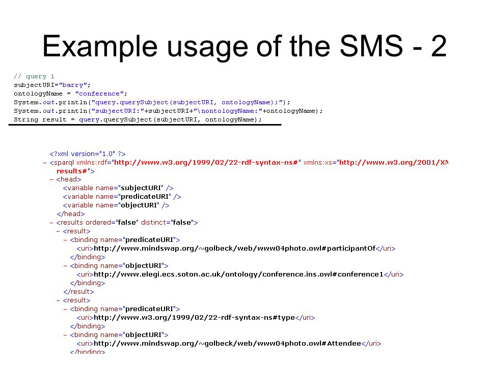 Example usage of the SMS - 2