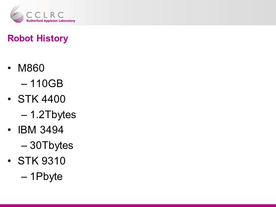 Robot History M860 –110GB STK 4400 –1.2Tbytes IBM 3494 –30Tbytes STK 9310 –1Pbyte