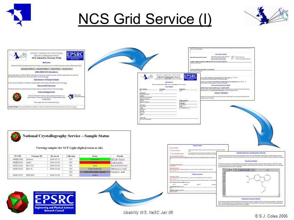 © S.J. Coles 2006 Usability WS, NeSC Jan 06 NCS Grid Service (I)