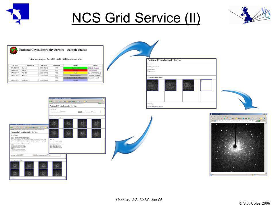 © S.J. Coles 2006 Usability WS, NeSC Jan 06 NCS Grid Service (II)