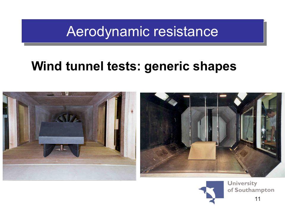 11 Wind tunnel tests: generic shapes AERODYNAMIC RESISTANCE Aerodynamic resistance