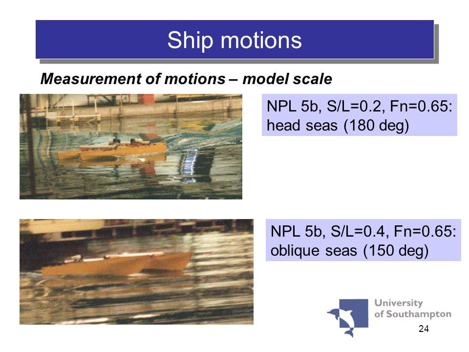 24 Ship motions Measurement of motions – model scale NPL 5b, S/L=0.2, Fn=0.65: head seas (180 deg) NPL 5b, S/L=0.4, Fn=0.65: oblique seas (150 deg)
