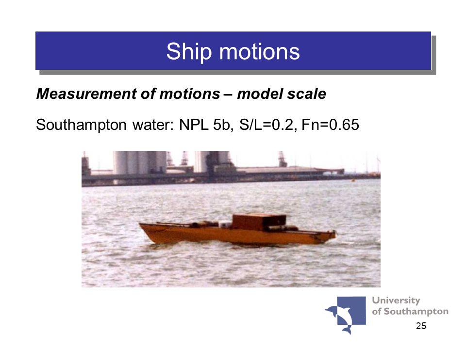 25 Ship motions Measurement of motions – model scale Southampton water: NPL 5b, S/L=0.2, Fn=0.65