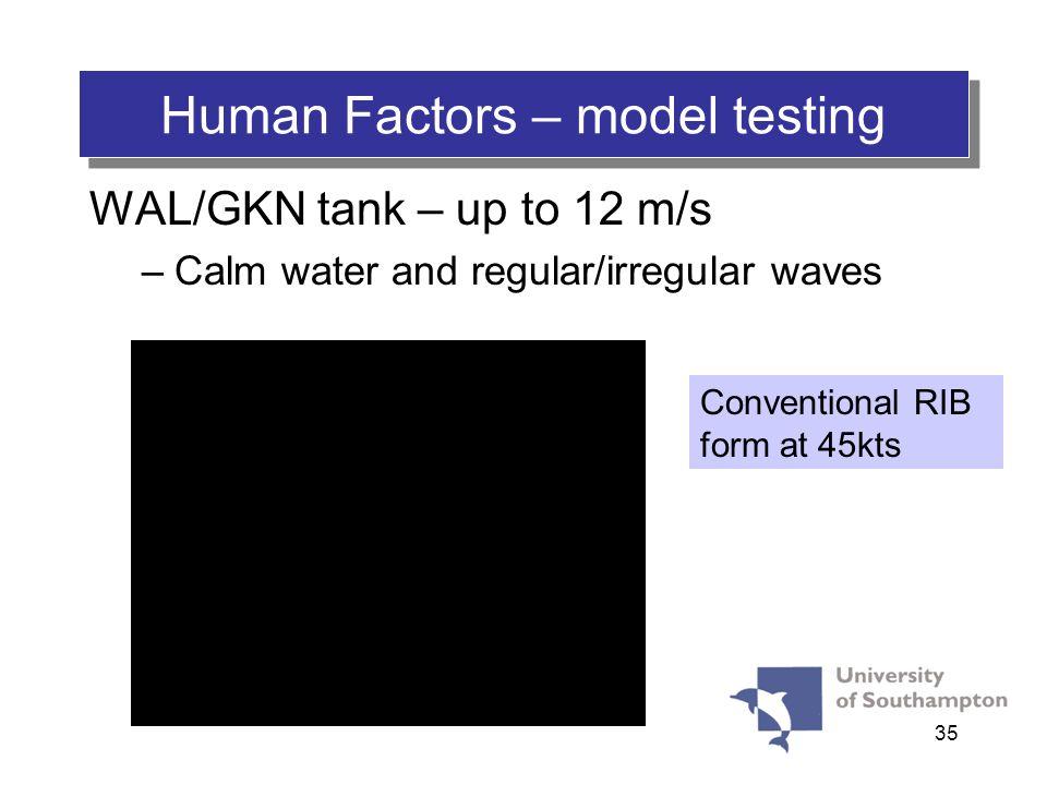 35 Human Factors – model testing WAL/GKN tank – up to 12 m/s –Calm water and regular/irregular waves Conventional RIB form at 45kts
