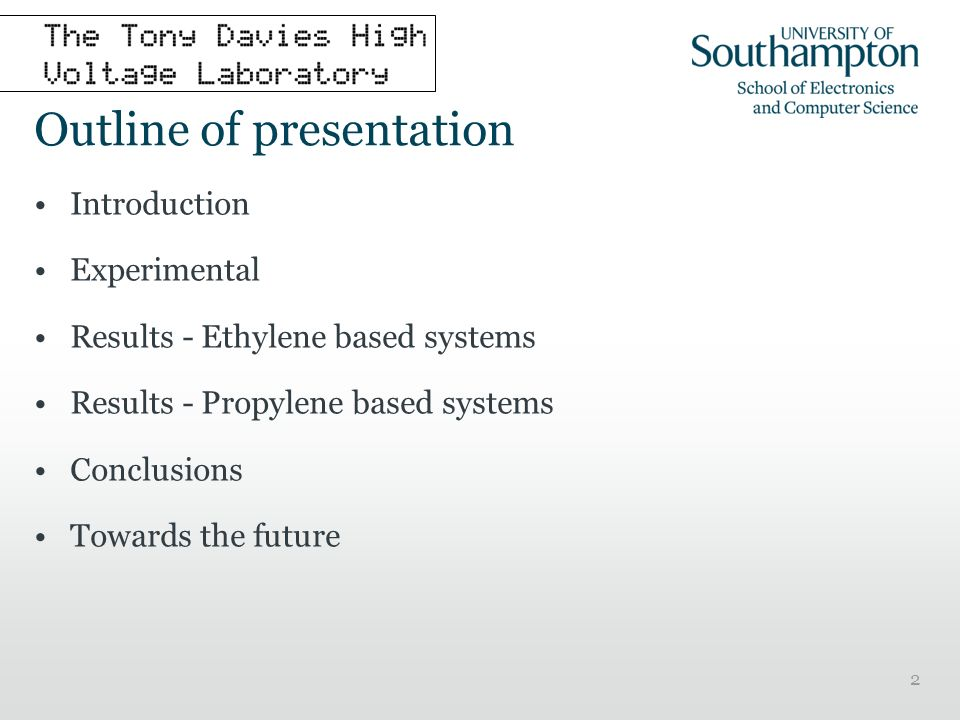 2 Outline of presentation Introduction Experimental Results - Ethylene based systems Results - Propylene based systems Conclusions Towards the future