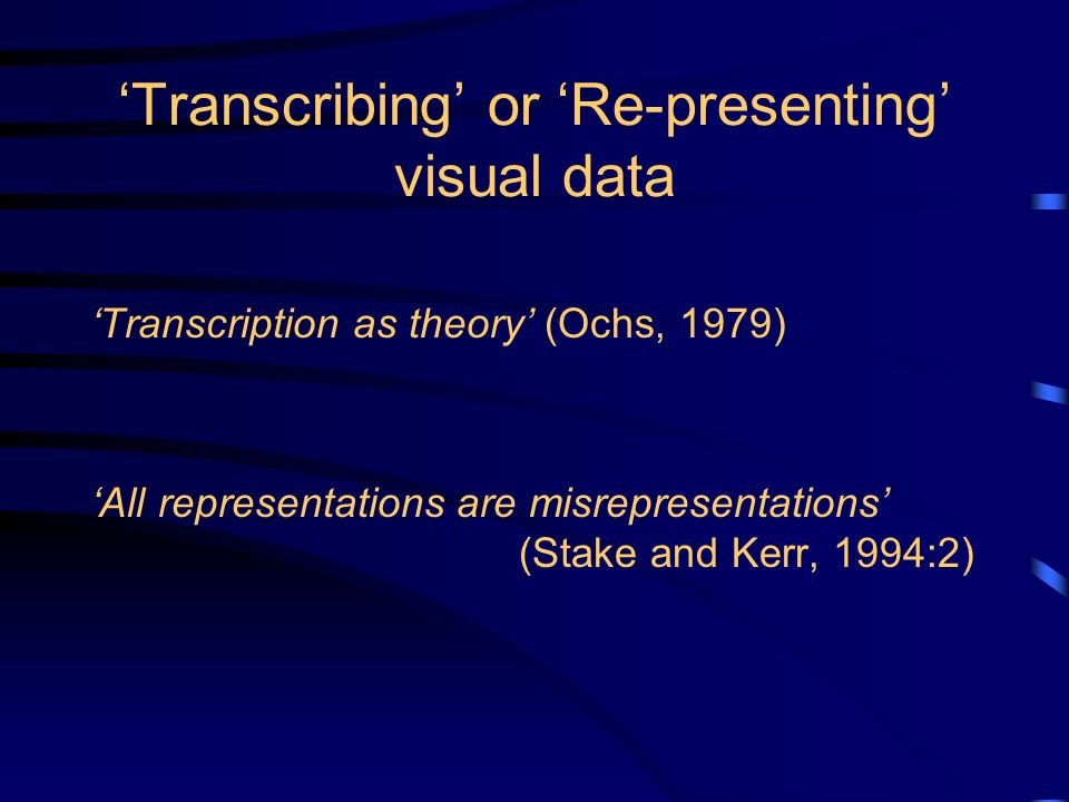 Transcribing or Re-presenting visual data Transcription as theory (Ochs, 1979) All representations are misrepresentations (Stake and Kerr, 1994:2)