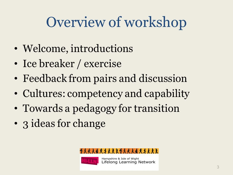 Overview of workshop Welcome, introductions Ice breaker / exercise Feedback from pairs and discussion Cultures: competency and capability Towards a pedagogy for transition 3 ideas for change 3