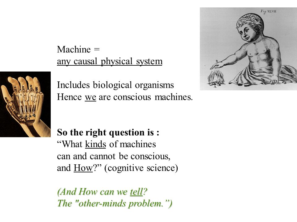Machine = any causal physical system Includes biological organisms Hence we are conscious machines. So the right question is : What kinds of machines