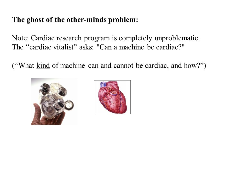 The ghost of the other-minds problem: Note: Cardiac research program is completely unproblematic. The cardiac vitalist asks: