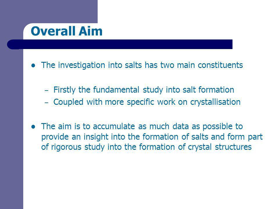 Overall Aim The investigation into salts has two main constituents – Firstly the fundamental study into salt formation – Coupled with more specific work on crystallisation The aim is to accumulate as much data as possible to provide an insight into the formation of salts and form part of rigorous study into the formation of crystal structures