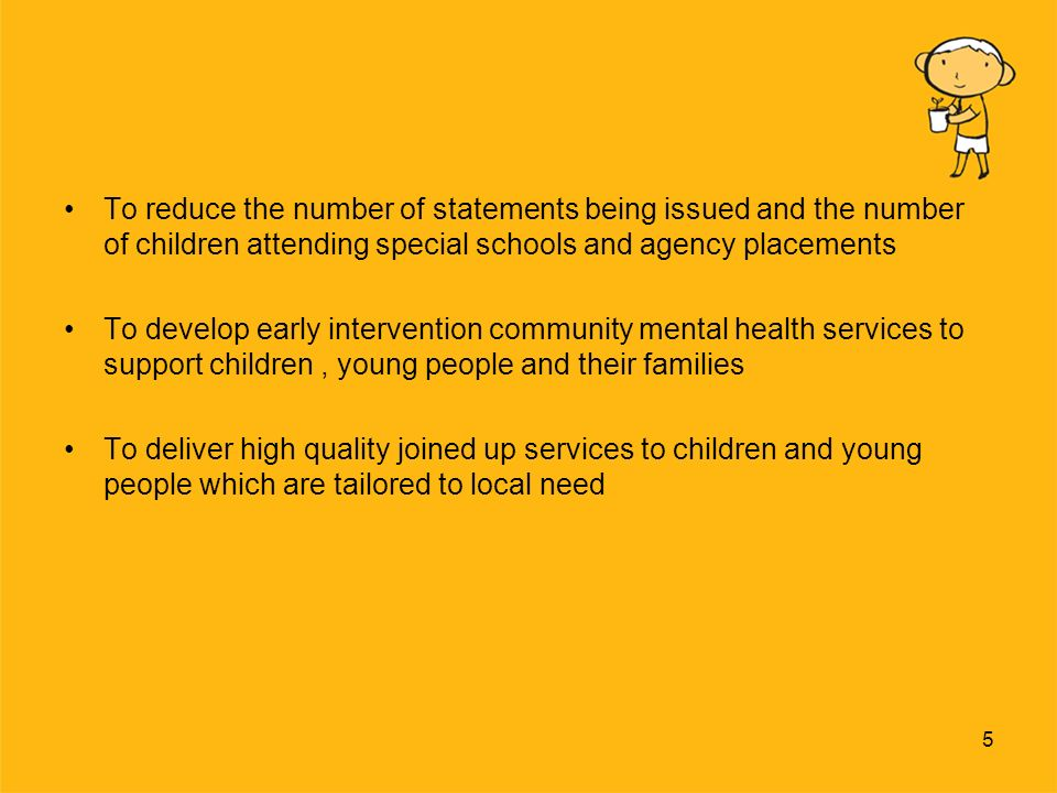6 Priorities within the Children and Young Peoples Plan Based on the five key outcomes from Every Child Matters From 25 priorities the following are key for our team; To reduce the number of children being permanently excluded from school To increase the inclusion and participation of children with a range of learning and SEB difficulties in mainstream education including Children in Care To reduce the number of children experiencing family breakdown and being taken into care