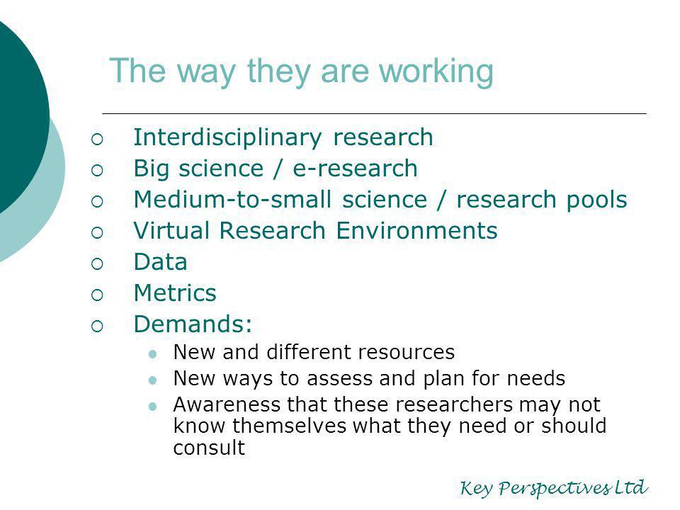 The way they are working Interdisciplinary research Big science / e-research Medium-to-small science / research pools Virtual Research Environments Data Metrics Demands: New and different resources New ways to assess and plan for needs Awareness that these researchers may not know themselves what they need or should consult Key Perspectives Ltd