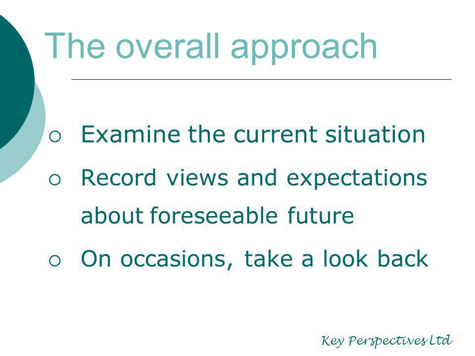 Examine the current situation Record views and expectations about foreseeable future On occasions, take a look back The overall approach Key Perspectives Ltd