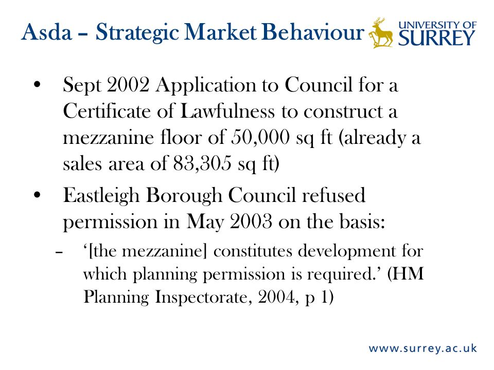 Sept 2002 Application to Council for a Certificate of Lawfulness to construct a mezzanine floor of 50,000 sq ft (already a sales area of 83,305 sq ft)
