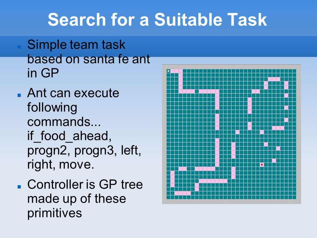 Search for a Suitable Task Simple team task based on santa fe ant in GP Ant can execute following commands...
