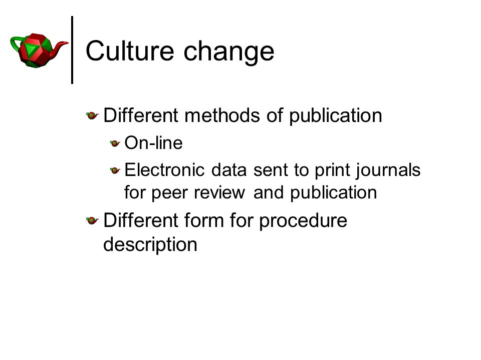 Culture change Different methods of publication On-line Electronic data sent to print journals for peer review and publication Different form for procedure description